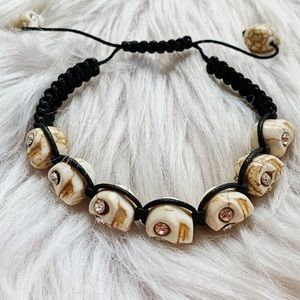 Jewelry - Skull Black Adjustable Bracelet with Bling